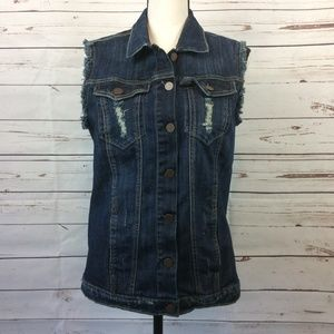 Kut From The Kloth Distressed Jean Vest, Size M